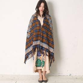 【チャイハネ】チェック織りジオメショール ネイビー