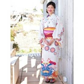 【チャイハネ】沖縄紅型風ユートピアセパレート浴衣 ホワイト