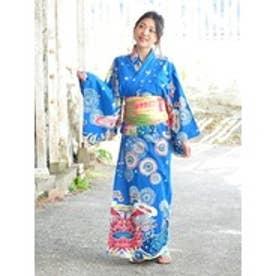 【チャイハネ】沖縄紅型風ユートピアセパレート浴衣 ブルー