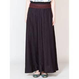 【チャイハネ】yul 刺繍入りシンプルロングスカート ブラック