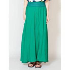 【チャイハネ】yul 刺繍入りシンプルロングスカート グリーン