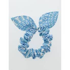 【チャイハネ】カラフルミニリボンシュシュ ホワイト×ブルー