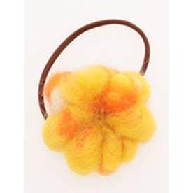 【チャイハネ】ノンパチウールフラワーヘアゴム オレンジ