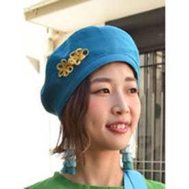【チャイハネ】チャイナボタンベレー帽 ブルー