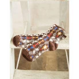 【チャイハネ】トルコ・キリム柄ミドルソックス23~25cm ブラウン