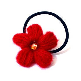 【チャイハネ】毛糸のお花ヘアゴム レッド