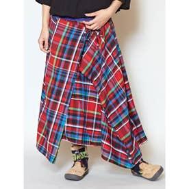 【チャイハネ】チェック柄変形スカート レッド