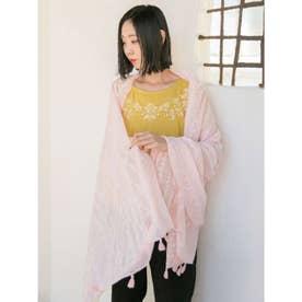 【欧州航路】クロス刺繍風プリントストール ピンク