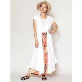 【チャイハネ】yul シフリー刺繍カシュクールワンピースカーディガン2WAY ホワイト
