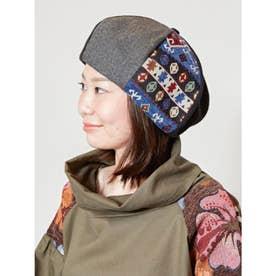 【チャイハネ】異素材パッチワークベレー帽 ブラック