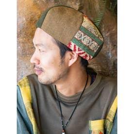 【チャイハネ】異素材パッチワークベレー帽 グリーン