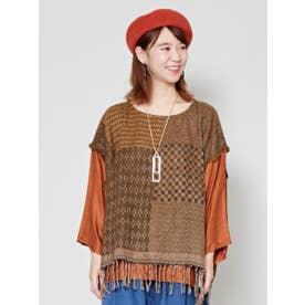【チャイハネ】yul ジャガード織りレイヤードトップス ブラウン