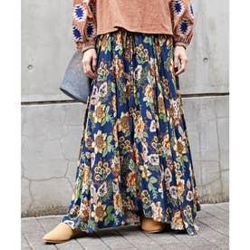 【チャイハネ】ボタニカル柄ロングスカート ブルー