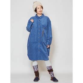 【チャイハネ】ネイティブ柄刺繍コーデュロイシャツワンピース ブルー