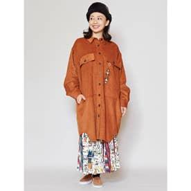 【チャイハネ】ネイティブ柄刺繍コーデュロイシャツワンピース ブラウン