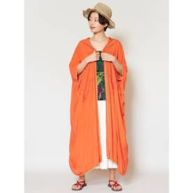 【チャイハネ】リーフ刺繍フードロングカーディガン オレンジ