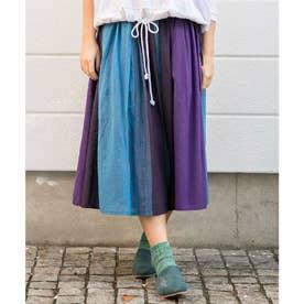 【チャイハネ】yul ネパールコットン マルチストライプロングスカート ブラック