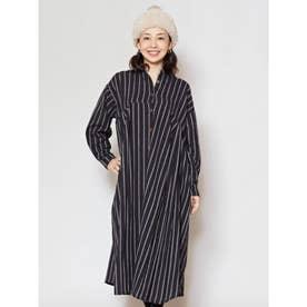【チャイハネ】yul ストライプ織りコットンシャツワンピース ブラック