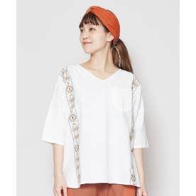 【チャイハネ】綿麻ネイティブ柄刺繍Vネックトップス ホワイト