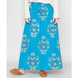 【チャイハネ】ブロックプリント リモーネロングスカート ブルー