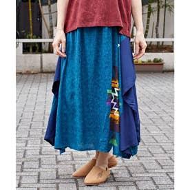【チャイハネ】yul スピリット変形ロングスカート ブルー