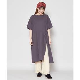 【チャイハネ】yul サイドクロス刺繍Tシャツワンピース ブラック