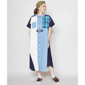 【チャイハネ】チェックパッチワークシャツワンピース ネイビー