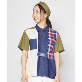 【チャイハネ】チェックパッチワークシャツ カーキ
