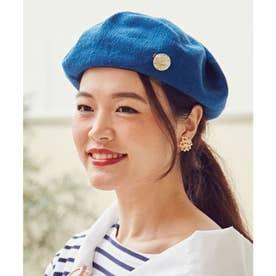 【欧州航路】チェコボタンブローチ付きベレー帽 ブルー