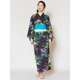 【チャイハネ】トロピカルフラワーセパレート浴衣 ブラック