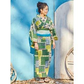 【チャイハネ】バグル柄パッチワーク風プリントセパレート浴衣 グリーン