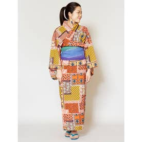 【チャイハネ】バグル柄パッチワーク風プリントセパレート浴衣 オレンジ