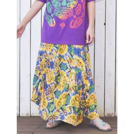 【チャイハネ】タイダイ風プリント変形スカート ブルー