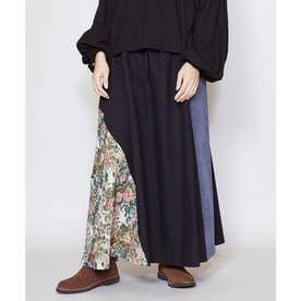 【チャイハネ】ゴブランパッチワークロングスカート ブラック