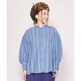 【チャイハネ】yul ストライプ織りバンドカラートップス ブルー