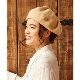 【欧州航路】ドレープウールベレー帽 チェコガラスボタン付き ベージュ