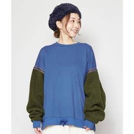 【チャイハネ】ボアパッチワークトップス ブルー