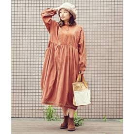 【チャイハネ】キリム柄刺繍コーデュロイバルーンワンピース ブラウン