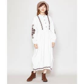 【チャイハネ】キリム柄刺繍コーデュロイバルーンワンピース ホワイト