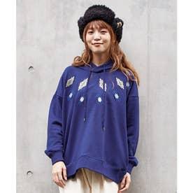 【チャイハネ】grn×Amina ネイティブ柄刺繍ビッグシルエットフーディー ブルー