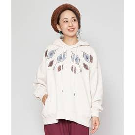 【チャイハネ】grn×Amina ネイティブ柄刺繍ビッグシルエットフーディー ホワイト