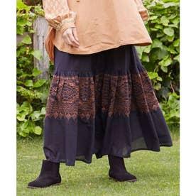 【チャイハネ】ボヘーノ刺繍ティアードスカート ブラック