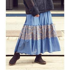 【チャイハネ】ボヘーノ刺繍ティアードスカート ブルー