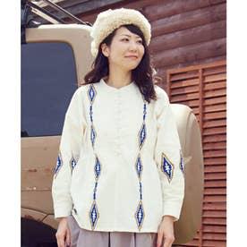 【チャイハネ】ネイティブ柄刺繍トップス ホワイト
