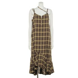 CHECK CAMISOLE DRESS (BROWN)