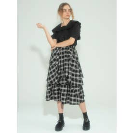 RANDOM FLARE CHECK SKIRT (BLACK)