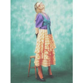 RANDOM FLARE CHECK SKIRT (ORANGE)