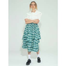 RANDOM FLARE CHECK SKIRT (GREEN)