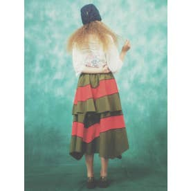 COLOR SWITCHED SKIRT (KHAKI×RED)