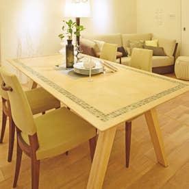 ダイニングテーブル(天板タイル) 【返品不可商品】(オーク材・ウレタン塗装艶なし)